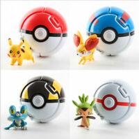 Pokemon GO Pikachu Fennekin Chespin Toy Figures 4 Pcs w/Throw 'N' Pop Poke Balls
