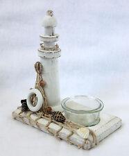 Teelichthalter aus Holz mit Leuchtturm 14cm mit Fischernetz und echten Muscheln