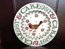 "EMMA BRIDGEWATER JOY & CAKE PLATE 8.5"" SPECIAL XMAS CHRISTMAS ROBIN EDITION RARE"