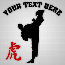 Taekwondo silhouette Personalized decal,Tiger hieroglyph wall gym vinyl decal
