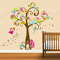 Huge Fairy Tree Angles Wall Stickers Removable Vinyl Paper Girls Kids Room Decor