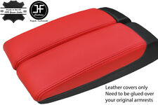 RED GENUINE LEATHER 2X ARMREST LID COVERS FITS AUDI A8 2003-10