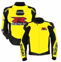Suzuki Gsxr yellow Motorcycle Leather Jacket Sports Motorbike Leather Jackets