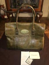 Mulberry Bayswater croc Kenya leather in Khaki VGC keyring & bag - Rare colour