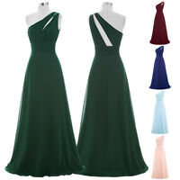 Long Simple One Shoulder Bridesmaid Wedding Gown Evening Cocktail Party Dress