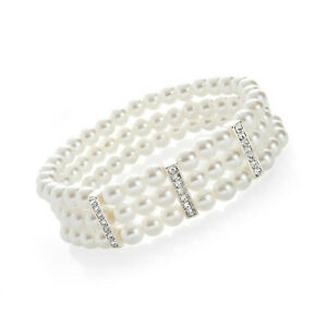 STUNNING 2cm wide 3 row glass white faux pearl & diamante elasticated bracelet
