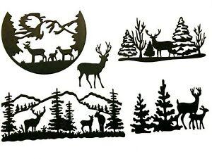 BUCK, DOE, FAWN DEER STANDING IN FRONT MOUNTAIN, TREES SILHOUETTE DIE CUT/ CUTS