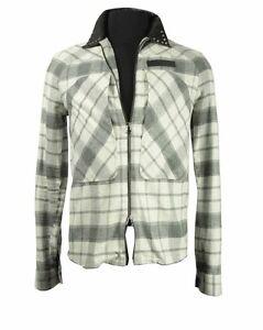 Pierre Balmain leather collar rocker shirt ivory/grey