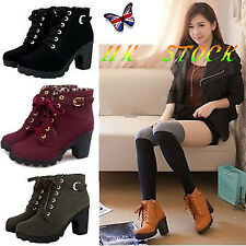 UK Women Lady Lace Up Ankle Boots Platform Punk High Heels Winter Casual Shoes
