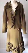 Kaliko ~ [John Lewis] all wool khaki knitted  soft skirt / jacket suit ~  UK 12