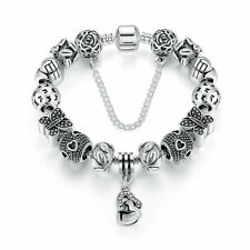 20cm Xmas Silver Plated Charm Bracelet with Bling Crystal Flower Charm Beads