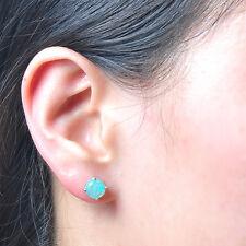 Sweet White/Pink/Purple/Blue Round Fire Opal Stud Earrings 925 Silver Jewelry