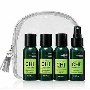 New Avon CHI Essentials Hair Travel Kit Shampoo, Conditioner, Spray, Serum 2 oz