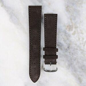 Suede Leather Watch Strap - Dark Brown - 18mm/20mm