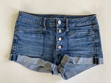 American Eagle Medium Rinsed Exposed Button Fly Shortie Short SZ 6 Mid Rise Cuff