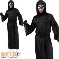 Bleeding Grim Reaper Adults Fancy Dress Halloween Skeleton Mens Horror Costume