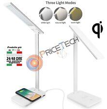 USB CARICA LED LAMPADA DA TAVOLO SCRIVANIA CON QI WIRELESS CARICABATTERIE