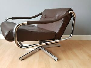 Retro Vintage Mid Century pieff  Leather And Chrome Swivel Chair