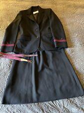 Piedmont Airlines Stewardess Uniform Jacket Skirt Black Fashionaire Size 8 Vtg