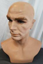 "Vintage Mannequin Man Head Store Display Oddity Art Creepy Male fiberglass 15"""
