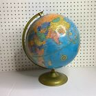 Vintage 12'' Cram's Imperial World Globe On Gold Metal Base Made in USA no. 12