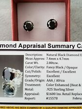 2.80tcw REAL Natural Black Diamond Stud Earrings AAA Grade & $1600 Value...