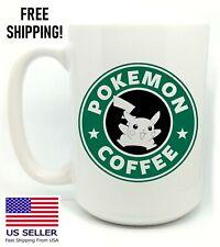 POKEMON COFFEE, PIKACHU, Starbucks Parody, Birthday, Christmas, Mug Gift 15 oz