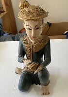 "vtg 17.5"" Vietnamese Handcarved Figurine- Musician W/ Cymbols"