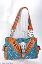 Beautiful Bling Western Style Shoulder Bag Turquoise Crystals Studs Lg New 7186