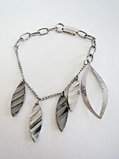 "Vintage Costume Feather Bracelet  Silver Tone with Contemporary Flair 7.5"" Long"