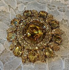 Swarovski Yellow And Clear Brooch pin With Swan Logo
