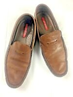 BOSI Mens Loafers US 10 EU 44 UK 9.5 Brown Leather Slip On Shoes