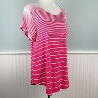SIZE XL Alfani Pink White Short Sleeve Knit Rayon Top Blouse Shirt Women's NWT