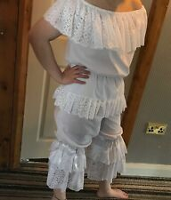 White cotton and lace can-can outfit, bloomers and  top