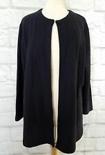 Eileen Fisher Black Lightweight Sweater Cape Jacket Single Button 100% Wool M