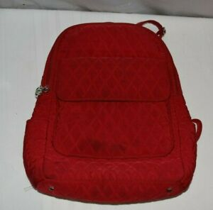 VERA BRADLEY Solid Red Quilted Backpack Purse
