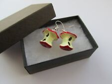 Red Apple Fruit Core - Yummy 5 Five A Day Handmade Fimo Fun Earrings  - Boxed