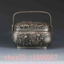 Chinese Tibetan Silver Hand-carved Characters Incense Burner&Lid  W Qing dynasty