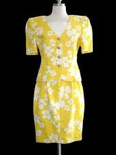 38 ESCADA Vintage 80's Yellow & White Pop Art Flowers + Roses 2 PC Suit Dress M