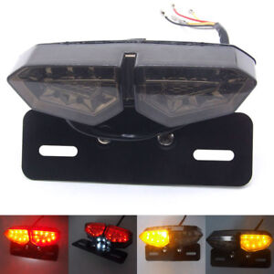 Motorcycle  License Plate LED Brake Tail Turn Signal Integrated Smoke Light 12V