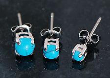 3 Pc 316L Surgical Steel 3mm 4mm 5mm Turquoise Stone Triple Earrings Ear Studs