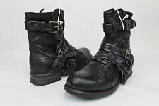 UGG COLLECTION ELISABETA WEAVE MOTO BUCKLE NERO BLACK BOOTS WOMENS SIZE 6 US