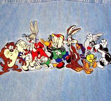 Looney Tunes Men's Denim Shirt M Embroidered Bugs Tweety Taz Wile Porky Elmer