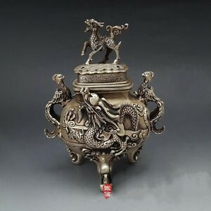 "10"" Chinese Silver 3 Foot Dragon Kylin Phoenix Bird Handle Incense Burner Censer"