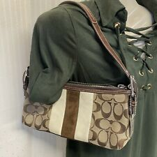 Coach 7039 Khaki Multi Brown Suede Striped Demi Purse Bag With Tag Charm