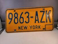 Vintage 1970's New York license plate 9863-AZK