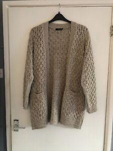 Ladies -Women's -Cardigan Size Uk L/XL -About Uk 16 -Brown -None Fastening