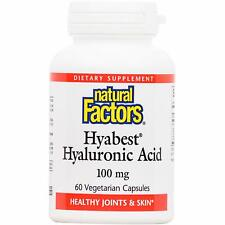 Natural Factors Hyabest Hyaluronic Acid, 60 Vegetarian Capsules