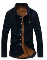 Mens Warm Solid Blouse Casual Long Sleeve Coat Corduroy Shirt Fur Lined Shirt