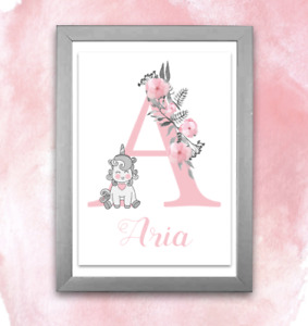 Personalised A4 Initial Alphabet Print Unicorn Baby Child - Floral Pink or Blue